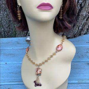 Jewelry - Klimt Citrine & Garnet Drop Necklace & Earrings